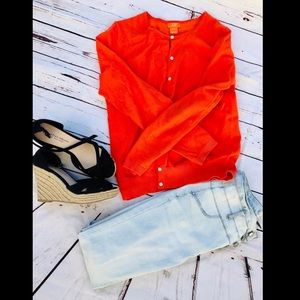 Coral Button Down Sweater